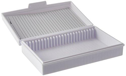 Heathrow Scientific HS15990C Microscope Slide Box, 25-Place, Polypropylene, White