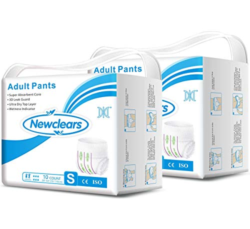 Newclears Incontinence Underwear for Women Men, Disposable Adult Diapers Absorbent Pull Ups Maximum Absorbency for Disability Postnatal Patient Bedridden Care, 10 Count/Pack (S - 20count)