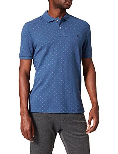 Springfield Polo Camiseta, Estampado Azul, S para Hombre