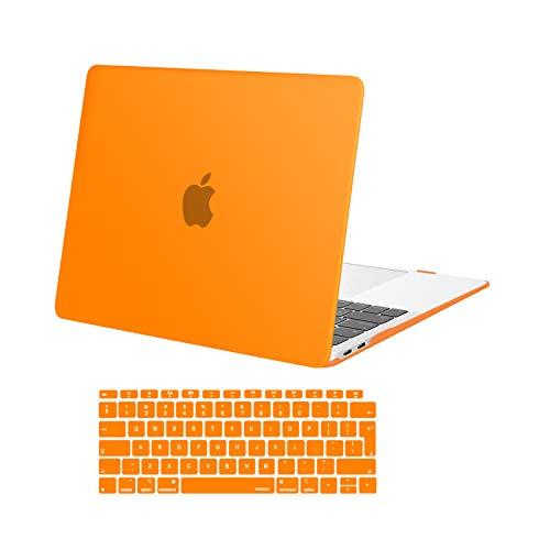 MOSISO Funda Dura Compatible con 2020 2019 2018 MacBook Air 13 Pulgadas A2337 M1 A2179 A1932 con Touch ID,Ultra Delgado Carcasa Rígida Protector de Plástico Cubierta & Piel de Teclado,Naranja