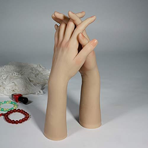 XHH 1 Paire Féminine Main en Silicone Souple pour Formation de Débutant Faux Nail Art, Manucure Bricolage,Couleur Chair