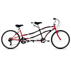 High-quality tandem bike with a durable cruiser-style frame 21-speed Shimano Tourney drive train and Revo twist shifters Easy-to-access stand-over heights (29 inches front and 20 inches rear) Extra-wide 1.95-inch tires; reliable alloy linear pull V b...