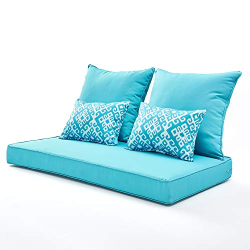 ARTPLAN Settee Bench Loveseat All Weather Chair Outdoor Cushions Set of 5 for Patio Outdoor Furniture