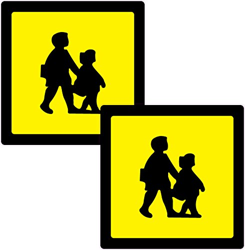 2 x l'école enfant Crossing Imprimé Vinyle autocollant 210 mm sq de voiture Taxi Mini-bus
