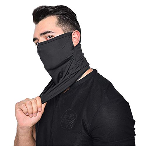 Cotton Neck Gaiter with Pocket, Ear Loops Bandanas Scarf for Men and Women-12 Pack