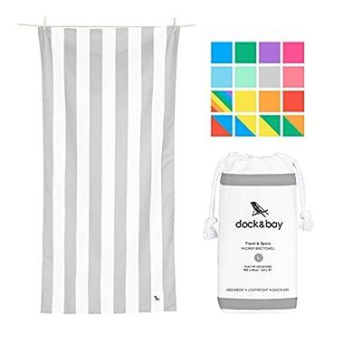Dock & Bay Lightweight Beach Towel for Swimmers - Light Grey, Large 63x31 - swim, pool, yoga, travelling