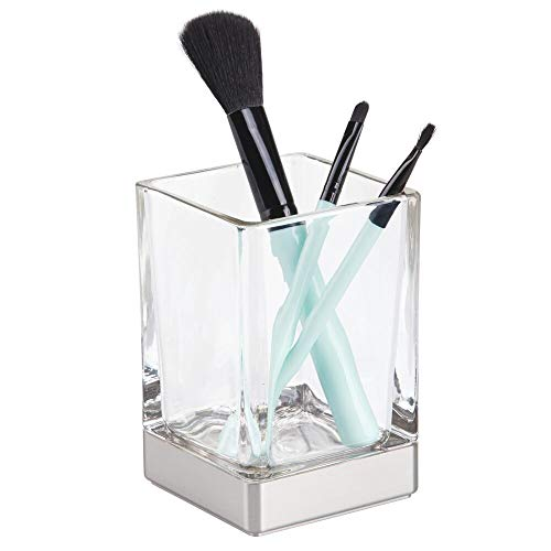 mDesign Modern Square Glass Bathroom Vanity Countertop Tumbler Cup for Rinsing, Drinking, Storing Dental Accessories and Organizing Makeup Brushes, Eye Liners - Clear/Brushed