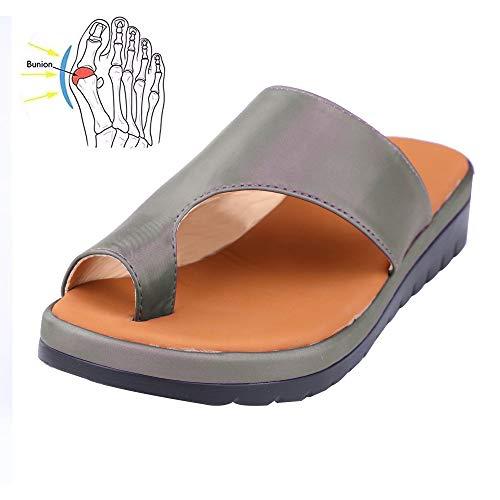 LLGHT Sandalias Ortopedicas Y Transpirables Mujer, Plataforma De Cuero De PU Suela Suave, Moda Cómodo Y Antideslizante Chancletas, Moda Playa Zapatillas para Viaje Verano (Color : 39)