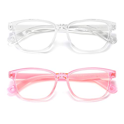 AHXLL Kids Blue Light Blocking Glasses 2 Pack, Anti Eyestrain & UV Protection, Computer Gaming TV Phone Glasses for Boys Girls Age 3-9 (Clear+Transparent Pink)