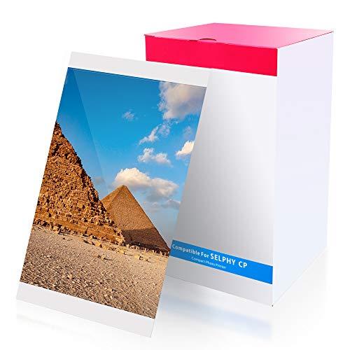 Wonfoucs kompatible Tinten und Papier Set für Canon KP-108IN für Canon Selphy CP1000 CP1200 CP1300 CP910 CP900 CP820 CP810, 100 x 148 mm Postkarten-Fotopapier (3 Tintenpatronen, 108 Blatt Fotopapier)