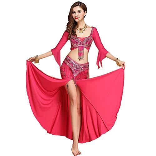 LOYFUN Vestidos de baile, disfraz de danza del vientre con cola de pez, vestido sexy de baile indio, falda, cinturón de 3 piezas, color Rosa, tamaño Small