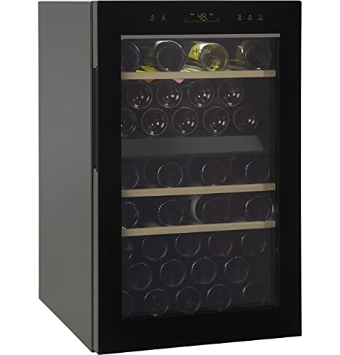 Haier Wine Cooler & Beverage Refrigerator | Mini Wine Fridge Complete With Dual-Zone Temperature Control, Triple-Pane Glass, Door Alarm & LED Interior Lighting | Fits 44 Wine Bottles | Black