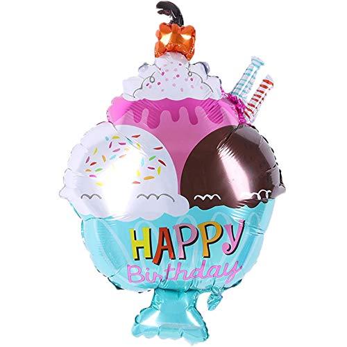 DIWULI, Geburtstags Eisbecher Luftballon Happy Birthday, EIS Folien-Luftballon, Geburtstagsballon bunt, Folien-Ballon Geburtstag, Mädchen Junge Kindergeburtstag, Party, Dekoration, Geschenk-Deko