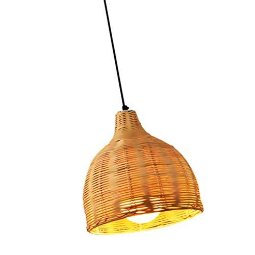 PIXNOR Cesta de ratán, lámpara colgante de techo, sombra de bambú, cúpula de mimbre, lámpara colgante rústica japonesa para decoración del hogar y la tienda