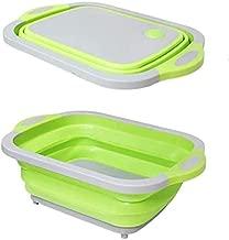 MOTDG Foldable Cutting Board Plastic Drain Basket, Kitchen Home Green 40 * 30cm