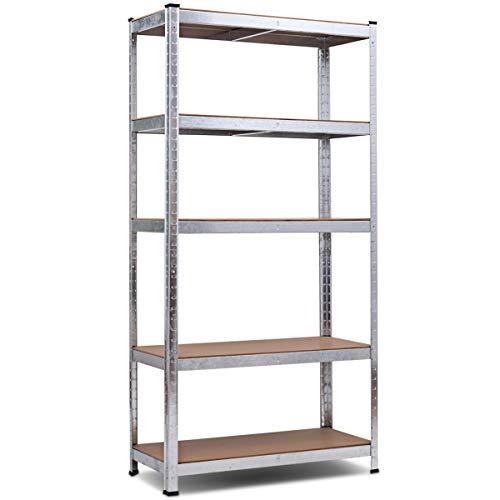 Giantex Storage Rack Shelving Unit Storage Shelf Steel Garage Utility Rack 5-Shelf Adjustable Shelves Heavy Duty Display Stand for Books, Kitchenware, Tools Bolt-Free Assembly 36