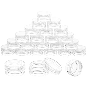 5 Gram Jar 25pcs Clear Cosmetic Sample Empty Container Plastic Small Tiny Jar for Make Up Eye Shadow Nails Powder Paint Jewelry