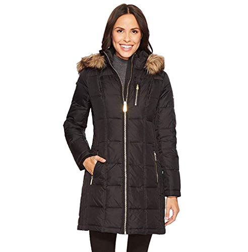 Michael Michael Kors Womens Zip Front Down with Faux Fur Trim Hood M821883T Black XL One Size
