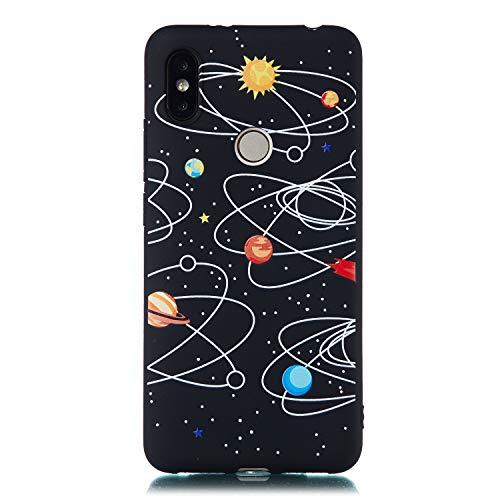 Artfeel Schwarz Weich Silikon Hülle für Xiaomi Redmi S2,Sternenhimmel Design Handyhülle mit Universum Planet Muster,Ultra Dünn Flexibel TPU Bumper Kratzfest Zurück Schutzhülle