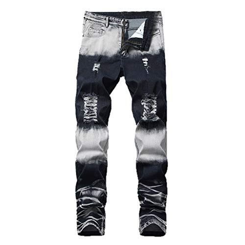 iHPH7 Jeans Men Comfort-Fit Jean Fashion Men Casual Personality Printing Slim Fit Denim Jeans Pants 28 White