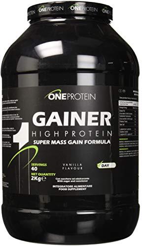 One Protein Gainer integratore alimentare a base di carboidrati e proteine con glutammina, arginina e creatina (Vaniglia, 2000 grammi)