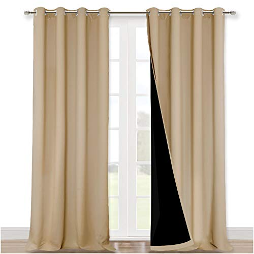 NICETOWN Thermal Insulated 100% Blackout Curtains, Sound Proof Drapes with Black Backing, Full Light Blocking Panels for Patio Sliding Door (Biscotti Beige, 1 Pair, 52 inches x 108 inches)