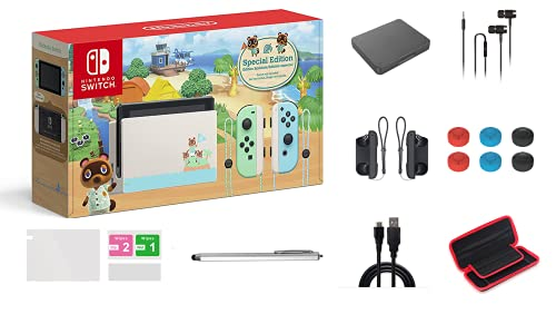Nintendo Switch Animal Crossing: New Horizons Edition 32GB Console Bundle, Pastel Green and Blue Joy-Con, 6.2' Touchscreen LCD Display, Family and Holiday Gift, W/ GM 14-in-1 Supper Kit Case