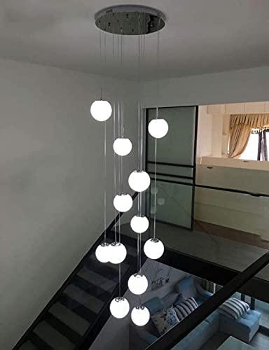 Lampadario per Scale con 12 Sfere di Vetro Lampade a Sospensione Moderne per lampadario di Villa Lampadario Lungo con Scala Duplex a LED, 50X50x250cm di Altezza