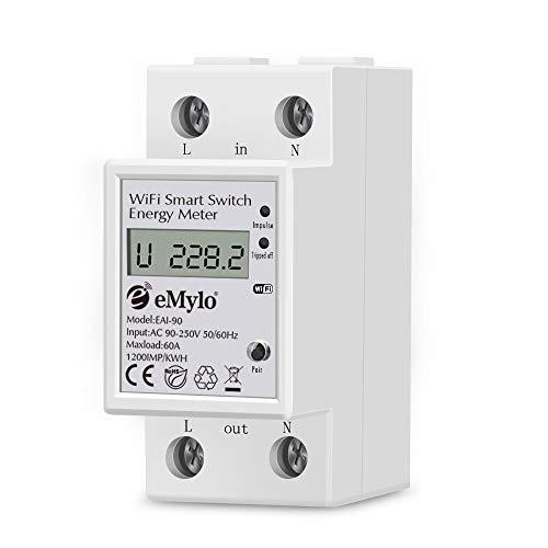 eMylo Contador Eléctrico Monofásico De Din-Rail Medidor De Energía Digital Monofásico Medidor Consumo Eelectrico Medidor Eléctrico Inteligente LCD Digital Kwh Meter Compatible con Alexa 90-250V 60A