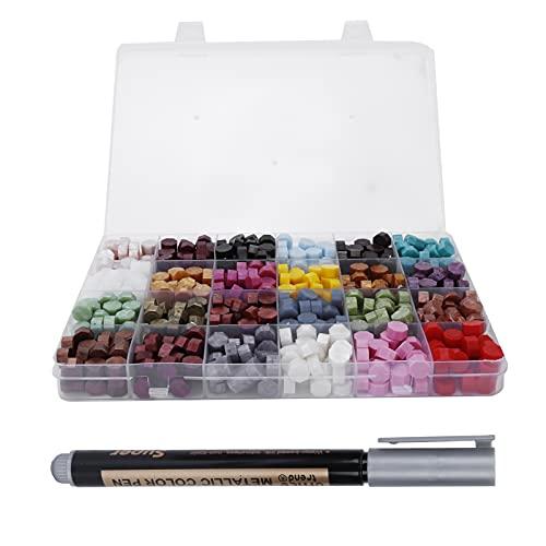 Perlas de cera de sellado de colores mezclados, juego de perlas de cera de sellado que se funden rápidamente para regalos Sellado para invitaciones de fiesta para cartas de Navidad
