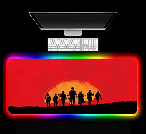Gaming Mouse Pad Red Dead Redemption Game RGB Mouse Pad Gaming Large Computer Gamer LED Backlight Pad Keyboard Laptop Notebook PC Desk Mat, 900x400x4 mm