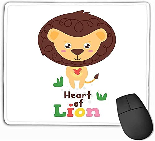N/A muismat jungle dier ontwerp sjabloon leeuw houden hart handen geïsoleerde witte achtergrond rechthoek rubber muismat 25 * 30Cm