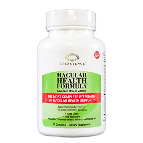 EyeScience Macular Health Formula Advanced Ocular Vitamin - Containing Lutein, Zeaxanthin, Billberry, and Vitamins C, D, E, and B6 (30 Day Supply)