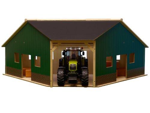 KidsGlobe Eckschuppen (kompatibel mit Bruder; passend für 1 Fahrzeug im Maßstab 1:16; 40,5 x 100,3 x 38 cm) 610339