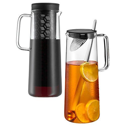 WMF IceTeaTime Karaffen-Set, 2-teilig, Glaskaraffe 1,2 l, mit Sieb und Löffel, mit zwei Gläser doppelwandig 270 ml, spülmaschinengeeignet, hitzebeständig