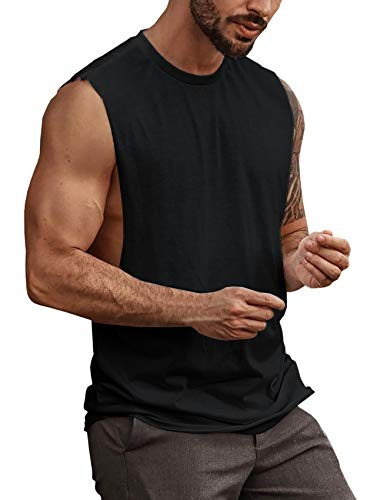 Mens Workout Cut Off Shirts Perfect Muscle Shirt Bodybuilding Tak Tops Sleeveless Gym T Shirts Black