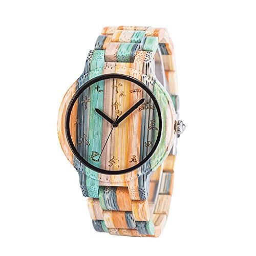 KUELXV Reloj de Pulsera de Madera Reloj de Madera para Hombre para Mujer Relojes de Pulsera de Cuarzo Fngeen de Pareja, tamaño de Hombre, 44 mm