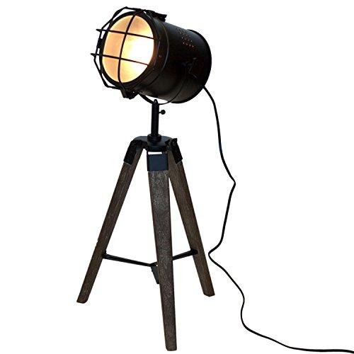 Holz Stativlampe mit Metallscheinwerfer E14 H64cm Schwarz/Natur - Stehlampe Dreibeinlampe Dreibein Tripod Tripodlampe Stehleuchte Studioleuchte Studiolampe Stativleuchte Stativ Studio Lampe