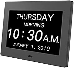 Day Clock Premium Digital Alarm Clock with Extra Large LCD Screen ?Electronic Wall Clock & 5 Alarm Options?Perfect for Seniors
