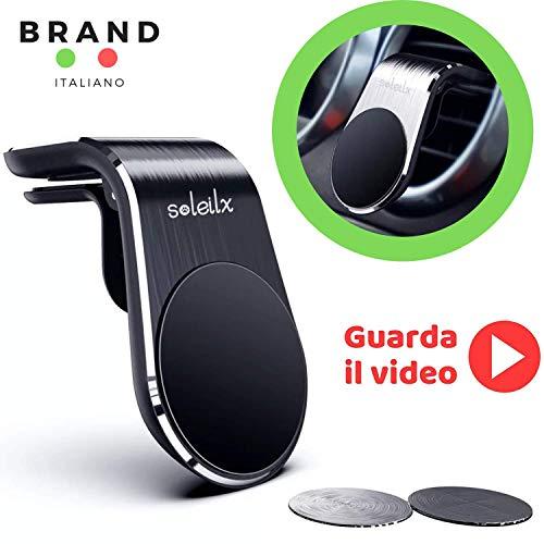 soleilx Supporto Auto Smartphone Magnetico Universale Porta Cellulare Auto per Alette Orizzontali telefoni iPhone XS Max/Xs/Xr/X/8/7/6s Plus, Galaxy S