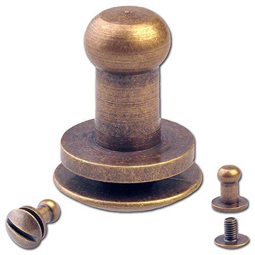 remaches de bot/ón para atornillar botones de bolsillo cierre de bolsillo 20 remaches de tornillo de bot/ón 4,5 mm tornillos de cabeza de hongo lat/ón antiguo