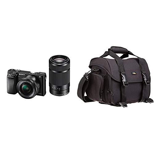 """Sony Alpha 6000 Systemkamera (24 Megapixel, 7,6 cm (3"""") LCD-Display) inkl. SEL-P 16-50 mm und SEL 55-210 mm Objektiv, schwarz & Amazon Basics - Große L Umhängetasche für SLR-Kamera und Zubehör"""