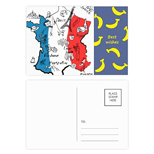 DIYthinker Map City Frankrijk Landmark Nationale Vlag Banaan Postkaart Set Thanks Card Mailing Side 20 stks 5.7 inch x 3.8 inch Multi kleuren