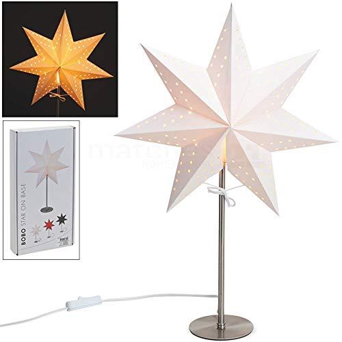 matches21 HOME & HOBBY Stand lamp Kerstster Kerstmis kandelaar ster wit papier op metalen standaard ster decoratie 50x34 cm