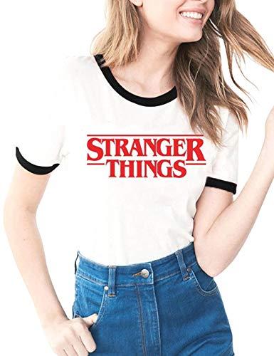 Elegante Stranger Things Maglietta per Donna, Stranger Things Maniche Corte Maglia con Stampa Lettera Estate Tee T-Shirt Camicia Tops Camicetta Blusa Maglietta da Ragazzo Ragazza (C1,M)