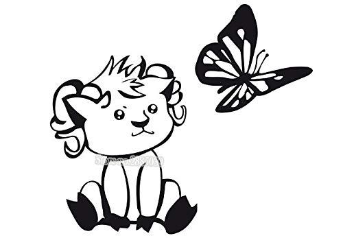zhuziji Recién diseñado Dormitorio Infantil Etiqueta de la Pared de Papel de Vinilo Linda pequeña Cabra con Mariposa Jugando Moderno Art Deco Fondo de Pantalla 96x84cm