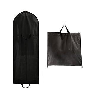 TUKA Transpirable Bolsa de Ropa, Aprox. 149 cm, con Cremallera de Calidad. para Vestidos de Fiesta, Trajes, Abrigos, 2 Bolsillos para Accesorios - Negro, TKB1007 Black
