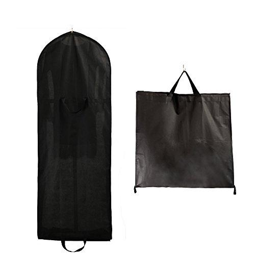 TUKA-i-AKUT Faltbar 150cm Atmungsaktiver Kleidersack mit Reißverschluss, Schutzhülle für Kleider/Anzüge/Mäntel, Transport & Säurefreie Langezeitlagerung, 2 Zubehörteile Taschen, Schwarz TKB1007