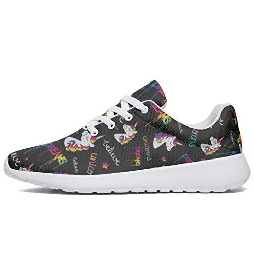 Wraill Herren Damen Laufschuhe Turnschuhe Cartoon Einhorn Tier Schwarz Design Sneakers Stilvoll Straßenlaufschuhe Wanderschuhe Laufen Schuhe Sportschuhe White 43