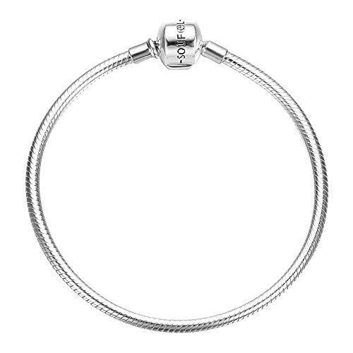 SOUFEEL Exclusive 925 Sterling Silver Basic Charm Bracelet Snake Chain Bracelets 19cm